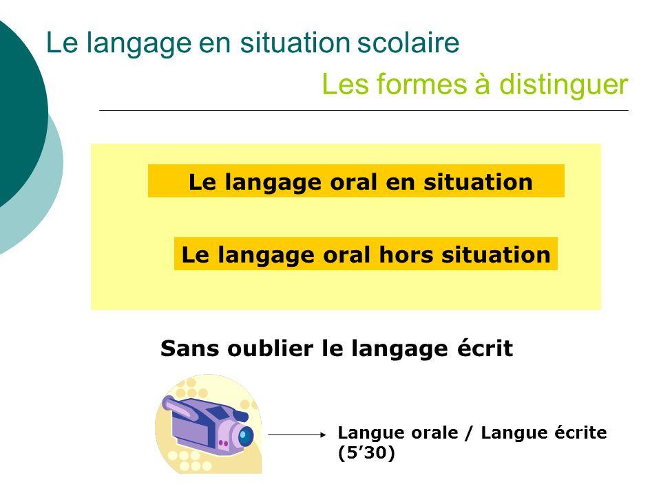 Le langage en situation scolaire