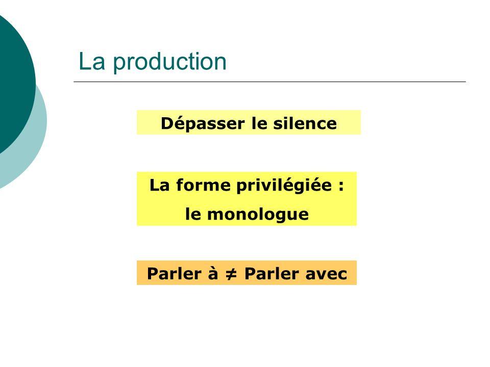 La production Dépasser le silence La forme privilégiée : le monologue