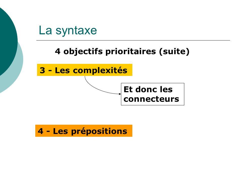 La syntaxe 4 objectifs prioritaires (suite) 3 - Les complexités