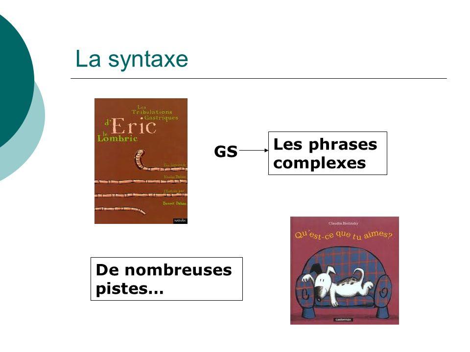 La syntaxe Les phrases complexes GS De nombreuses pistes…