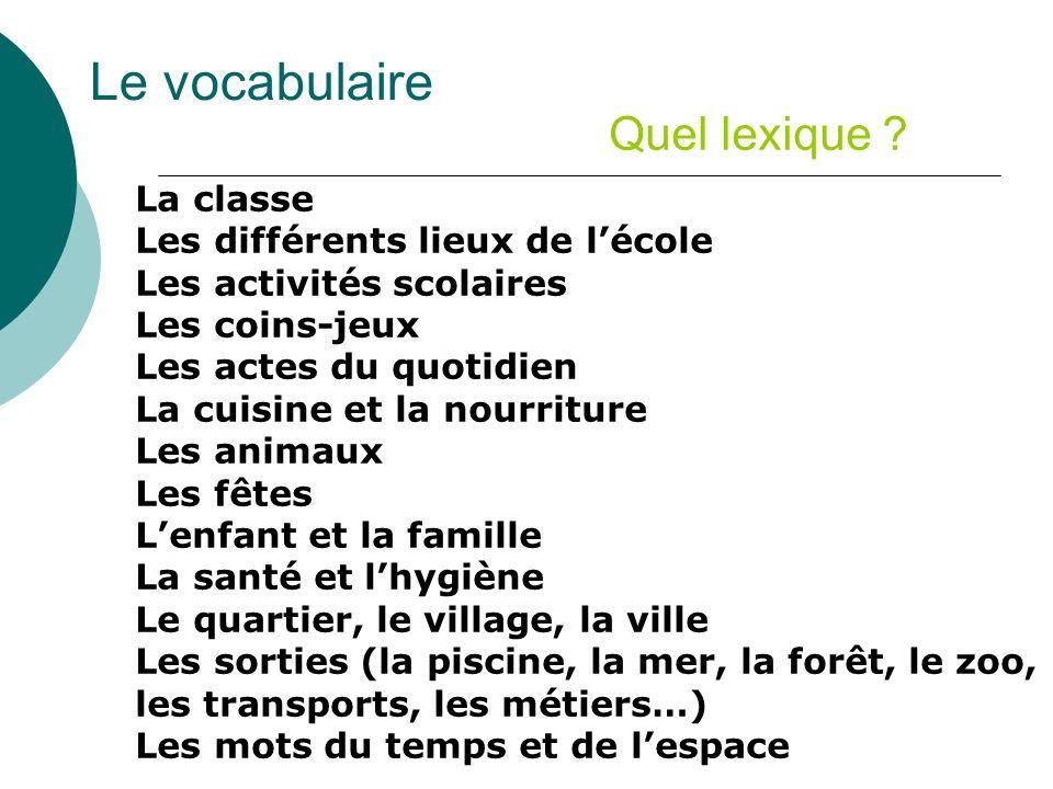 Le vocabulaire Quel lexique La classe