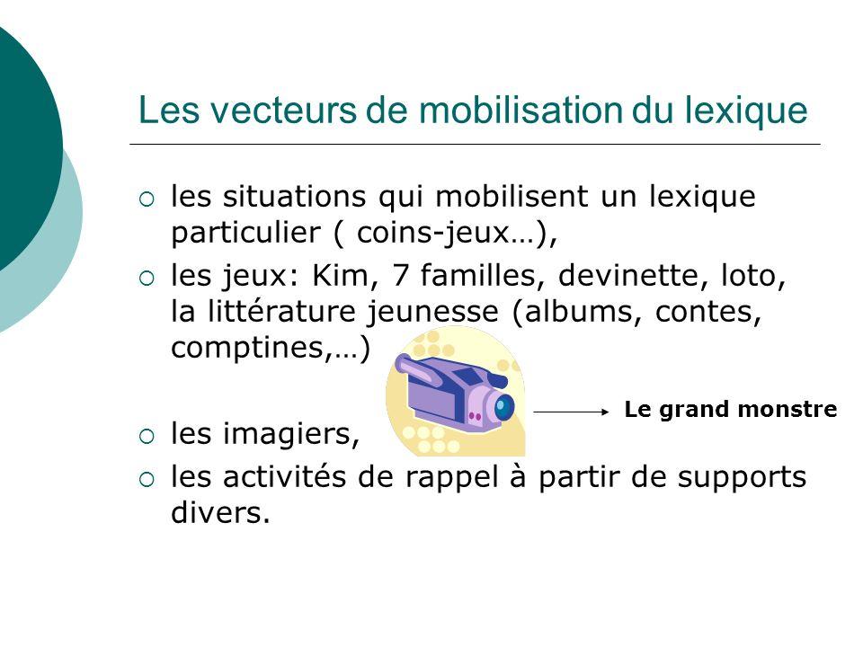 Les vecteurs de mobilisation du lexique