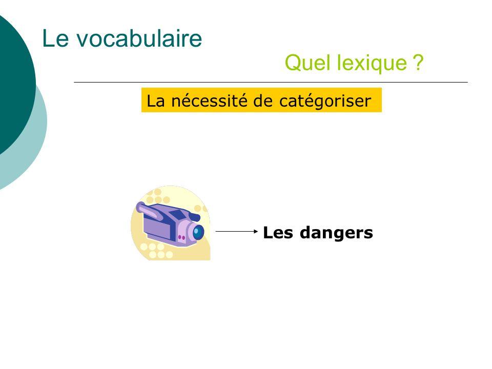 Le vocabulaire Quel lexique La nécessité de catégoriser Les dangers