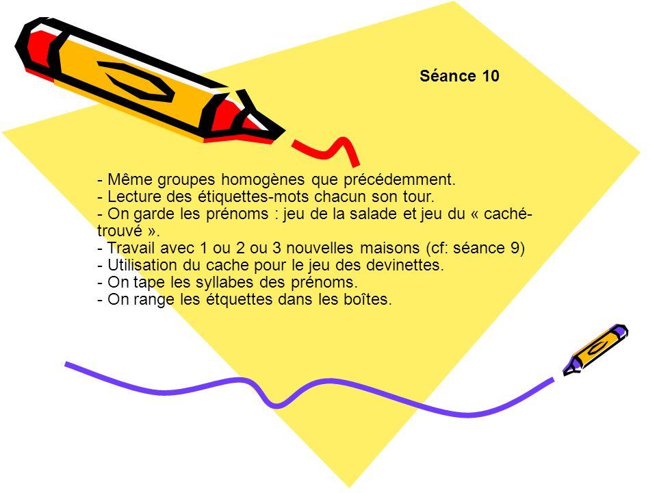 Séance 10 - Même groupes homogènes que précédemment. - Lecture des étiquettes-mots chacun son tour.