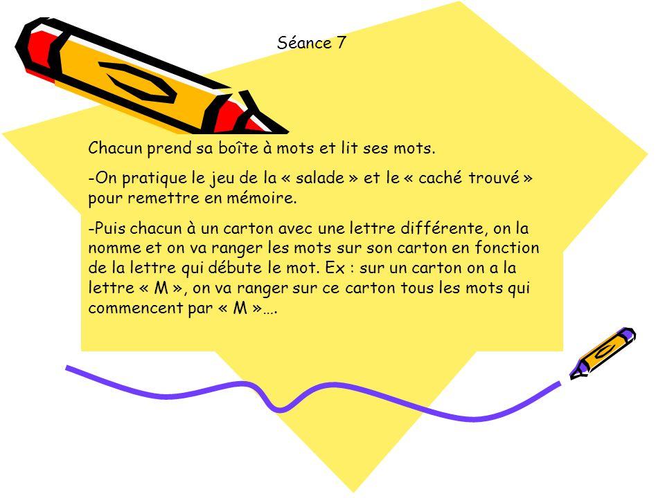 Séance 7 Chacun prend sa boîte à mots et lit ses mots. On pratique le jeu de la « salade » et le « caché trouvé » pour remettre en mémoire.
