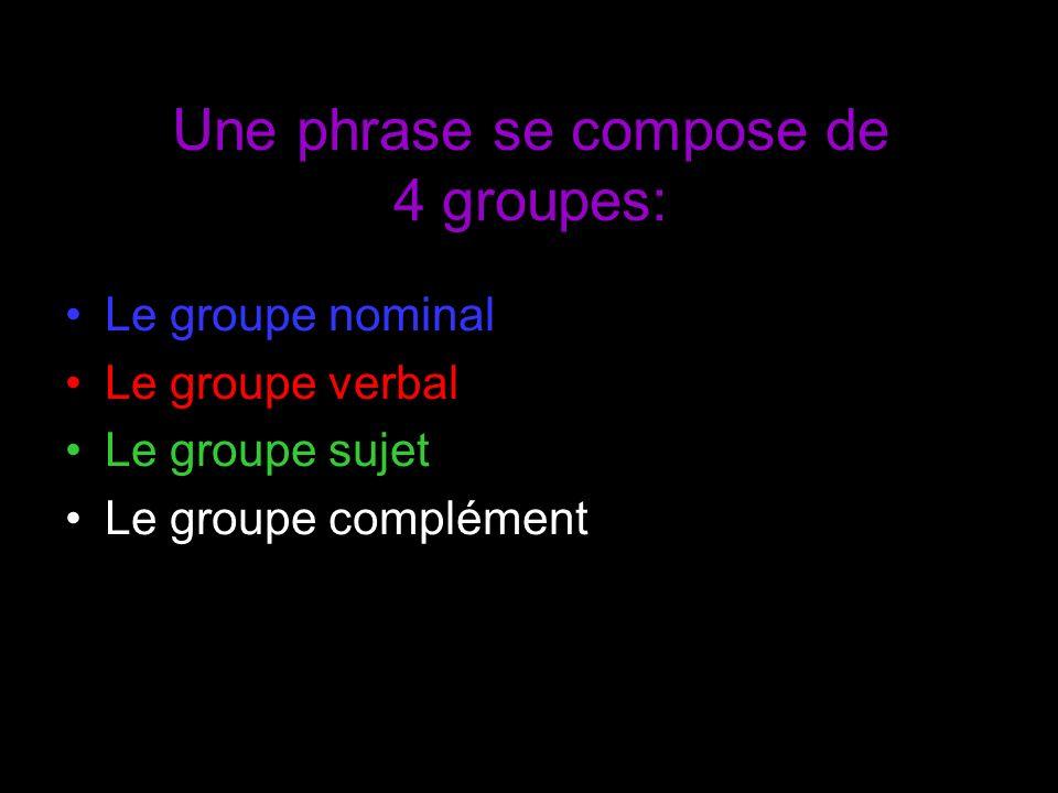 Une phrase se compose de 4 groupes: