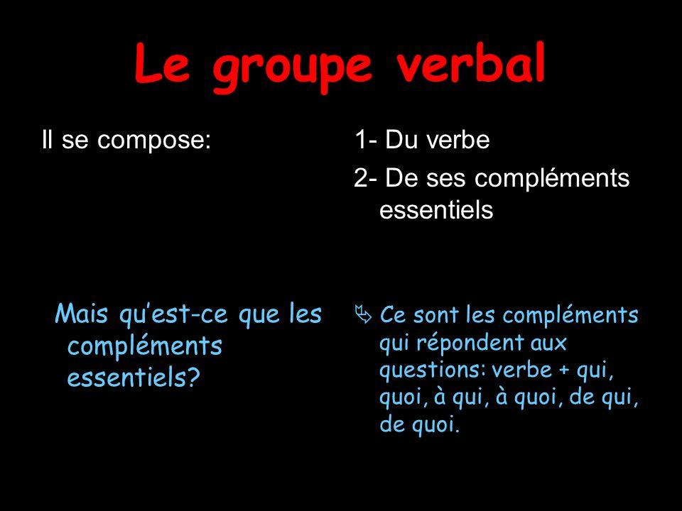Le groupe verbal Il se compose: 1- Du verbe