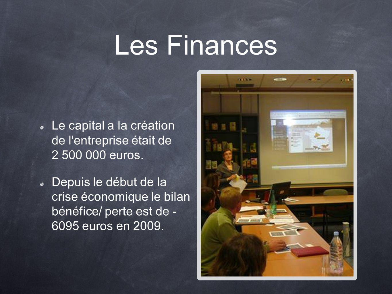 Les Finances Le capital a la création de l entreprise était de 2 500 000 euros.