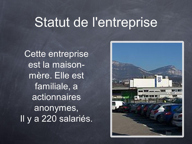 Statut de l entreprise Cette entreprise est la maison-mère. Elle est familiale, a actionnaires anonymes,