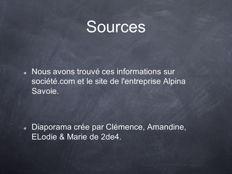 Sources Nous avons trouvé ces informations sur société.com et le site de l entreprise Alpina Savoie.