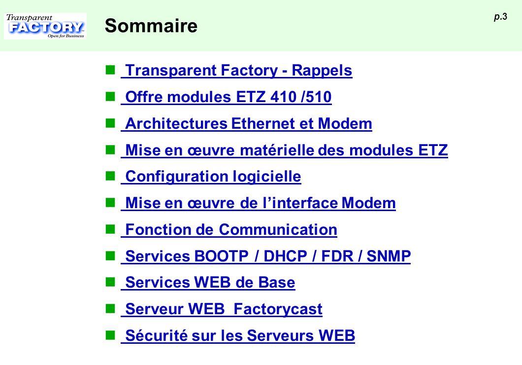 Sommaire Transparent Factory - Rappels Offre modules ETZ 410 /510
