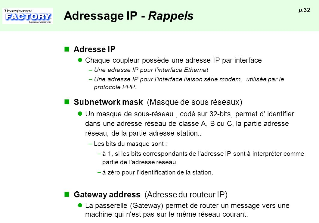 Adressage IP - Rappels Adresse IP