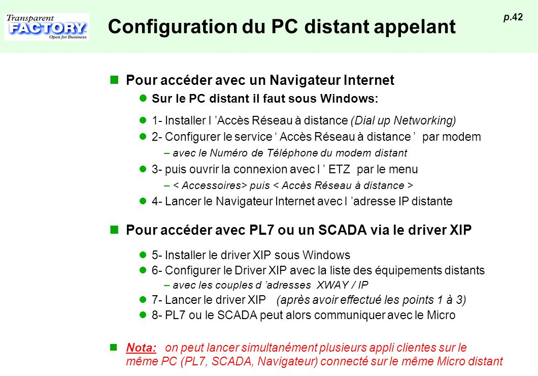 Configuration du PC distant appelant