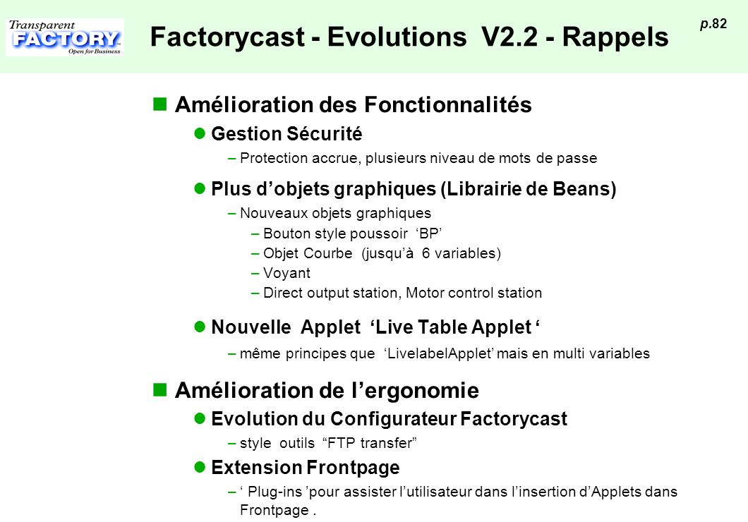 Factorycast - Evolutions V2.2 - Rappels