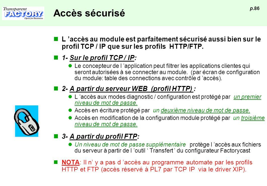 Accès sécurisé L 'accès au module est parfaitement sécurisé aussi bien sur le profil TCP / IP que sur les profils HTTP/FTP.