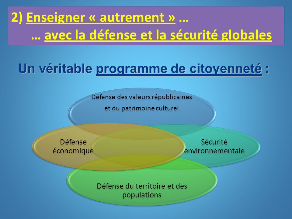2) Enseigner « autrement » … … avec la défense et la sécurité globales