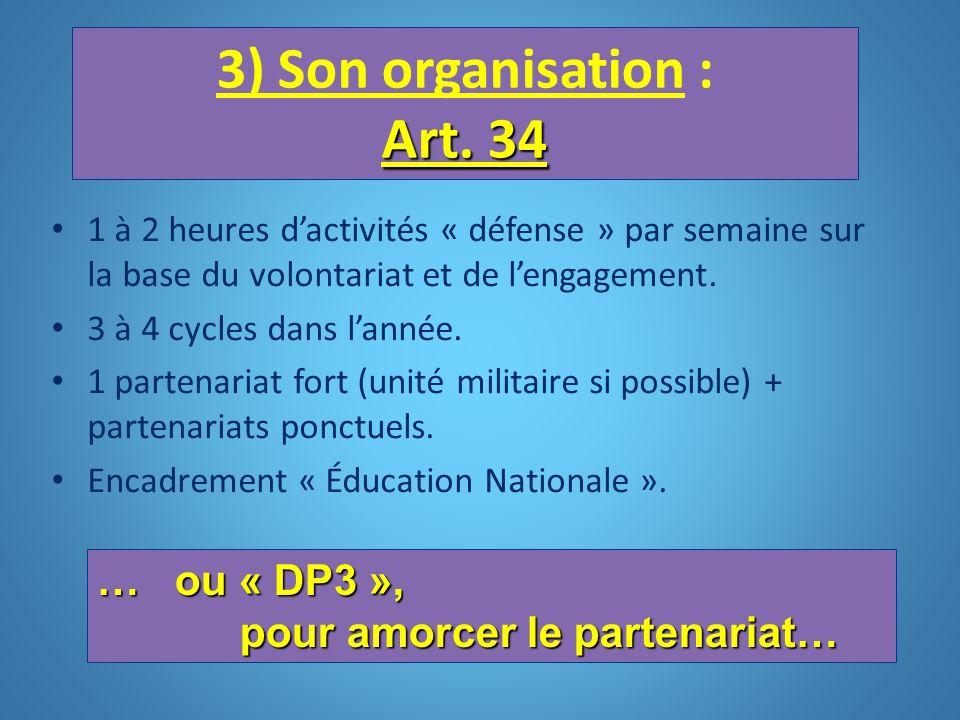 3) Son organisation : Art. 34