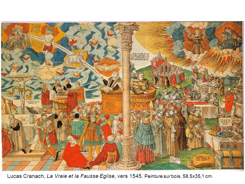 Lucas Cranach, La Vraie et la Fausse Eglise, vers 1545
