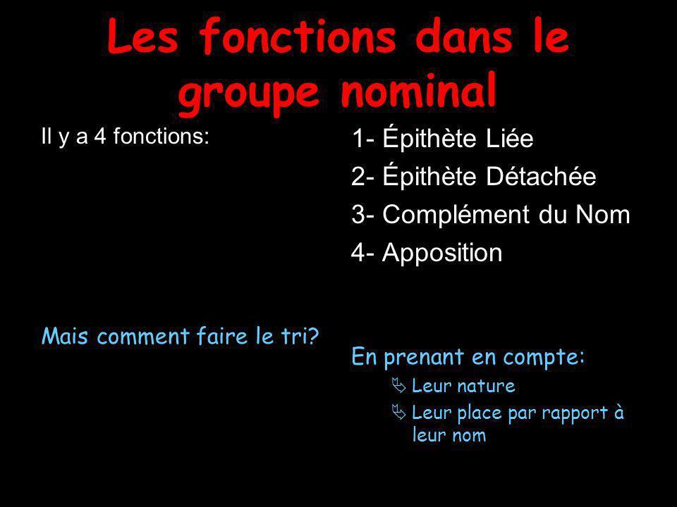 Les fonctions dans le groupe nominal