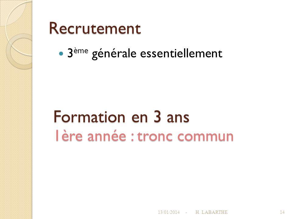 Recrutement Formation en 3 ans 1ère année : tronc commun