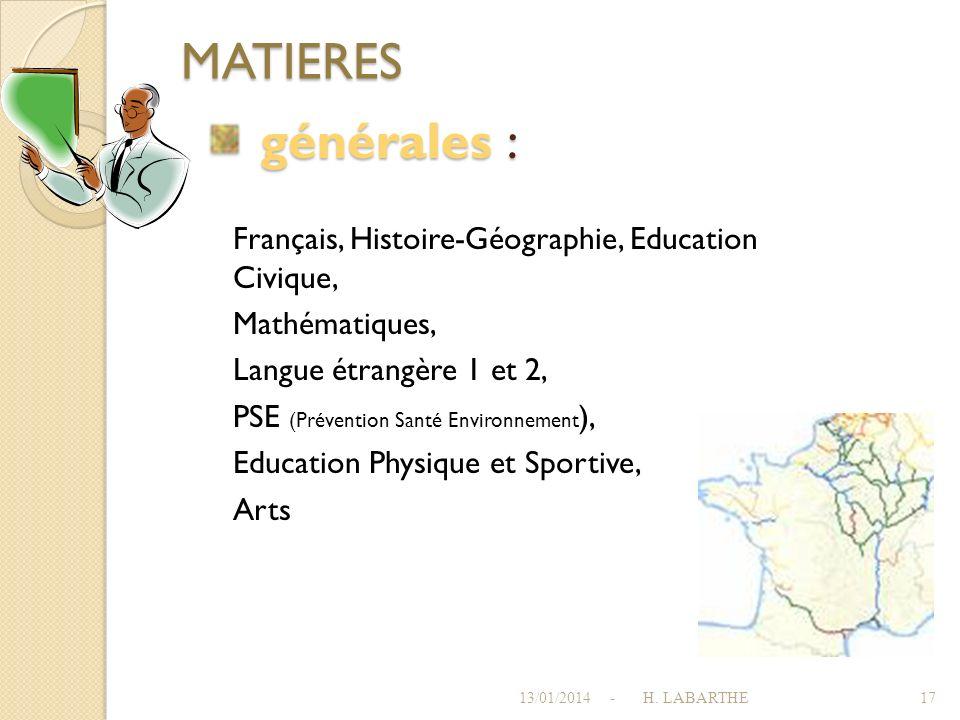 MATIERES générales : Français, Histoire-Géographie, Education Civique,