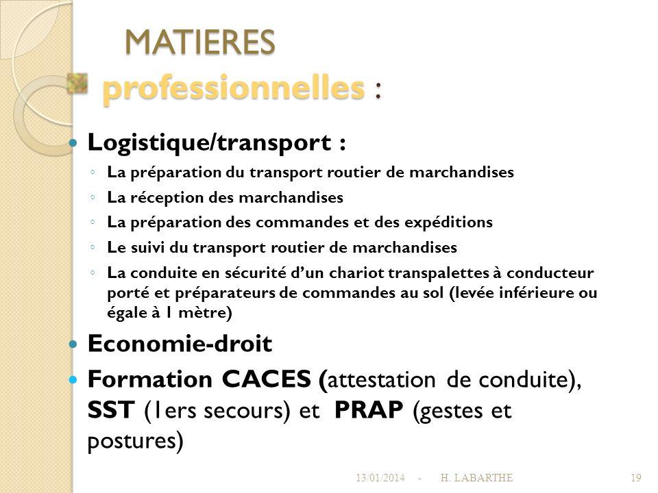 MATIERES professionnelles : Logistique/transport : Economie-droit