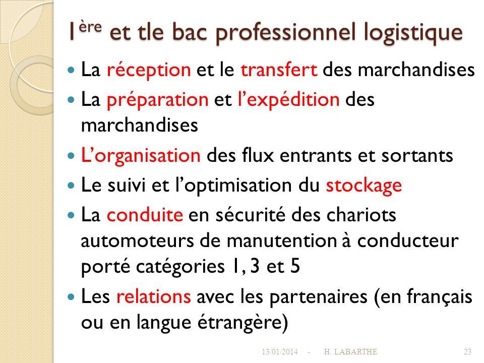 1ère et tle bac professionnel logistique