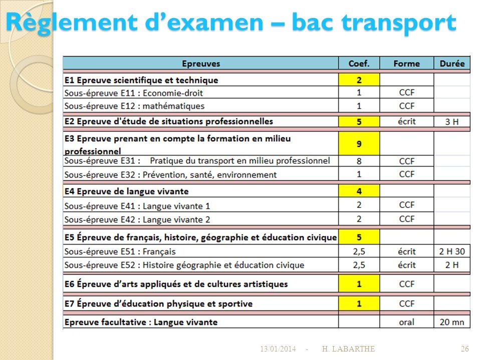 Règlement d'examen – bac transport