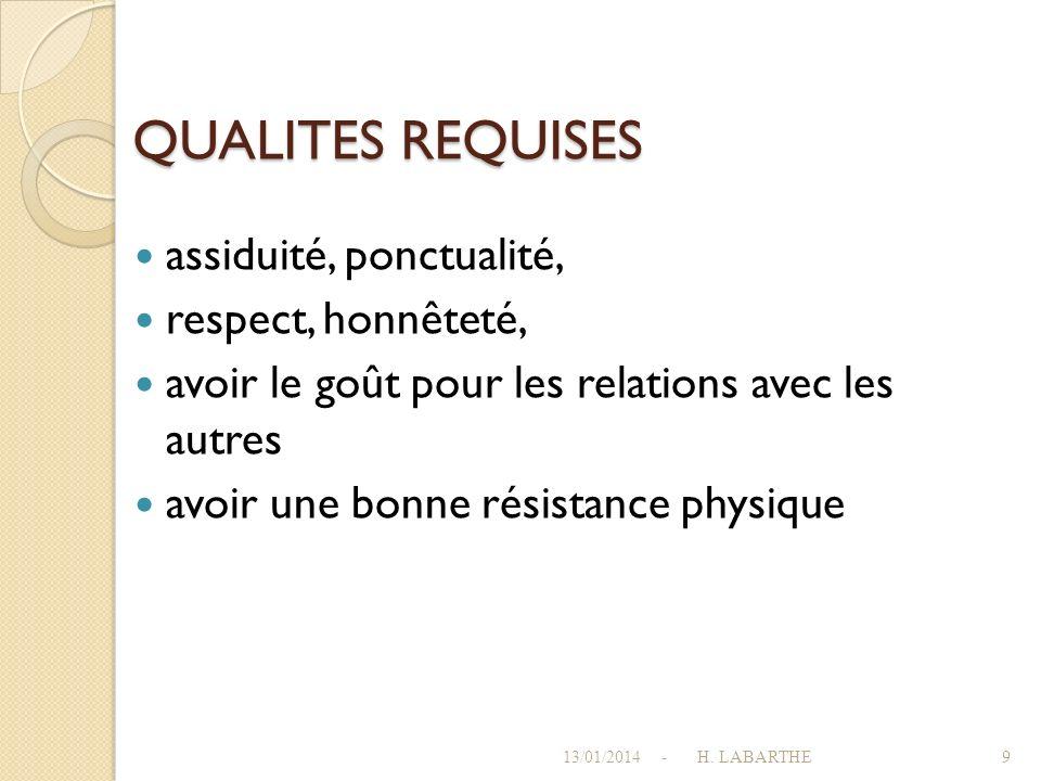 QUALITES REQUISES assiduité, ponctualité, respect, honnêteté,