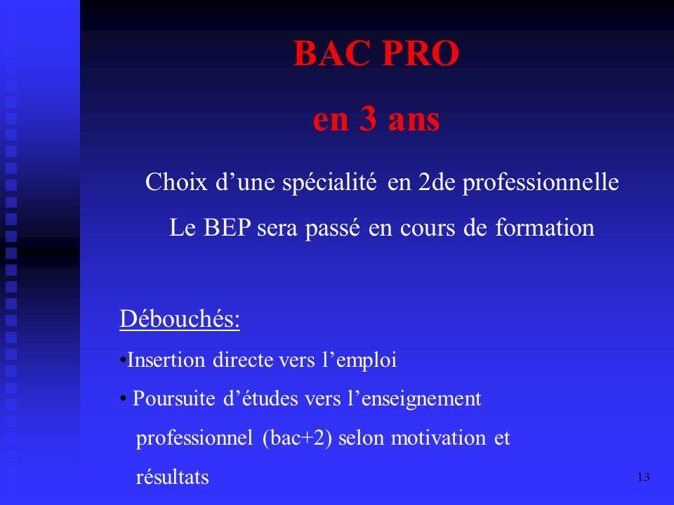 BAC PRO en 3 ans Choix d'une spécialité en 2de professionnelle