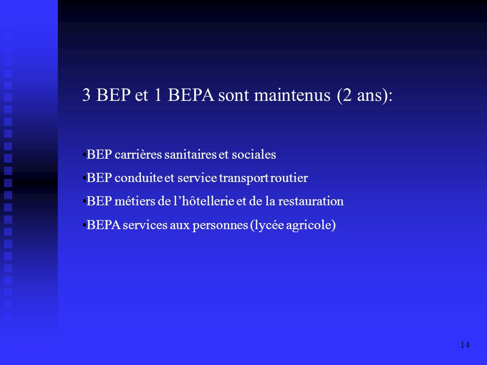3 BEP et 1 BEPA sont maintenus (2 ans):