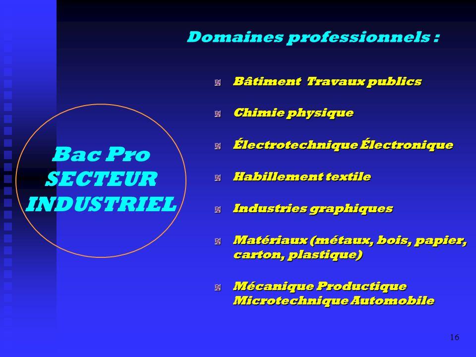 Bac Pro SECTEUR INDUSTRIEL