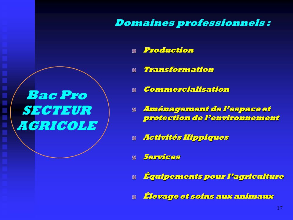 Bac Pro SECTEUR AGRICOLE