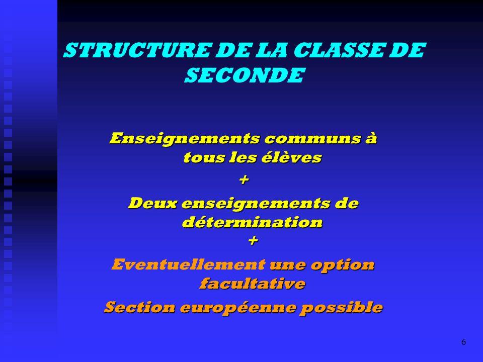 STRUCTURE DE LA CLASSE DE SECONDE