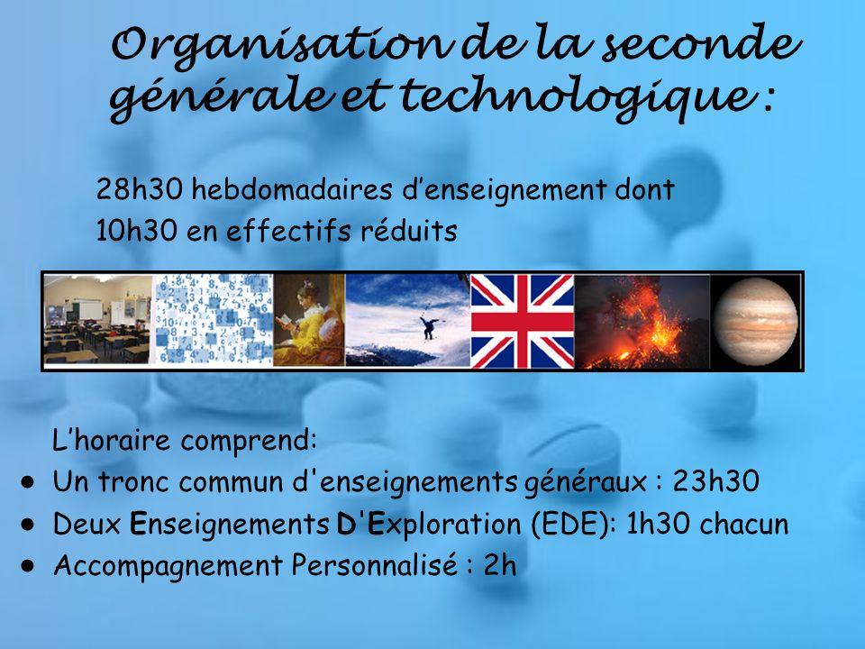 Organisation de la seconde générale et technologique :