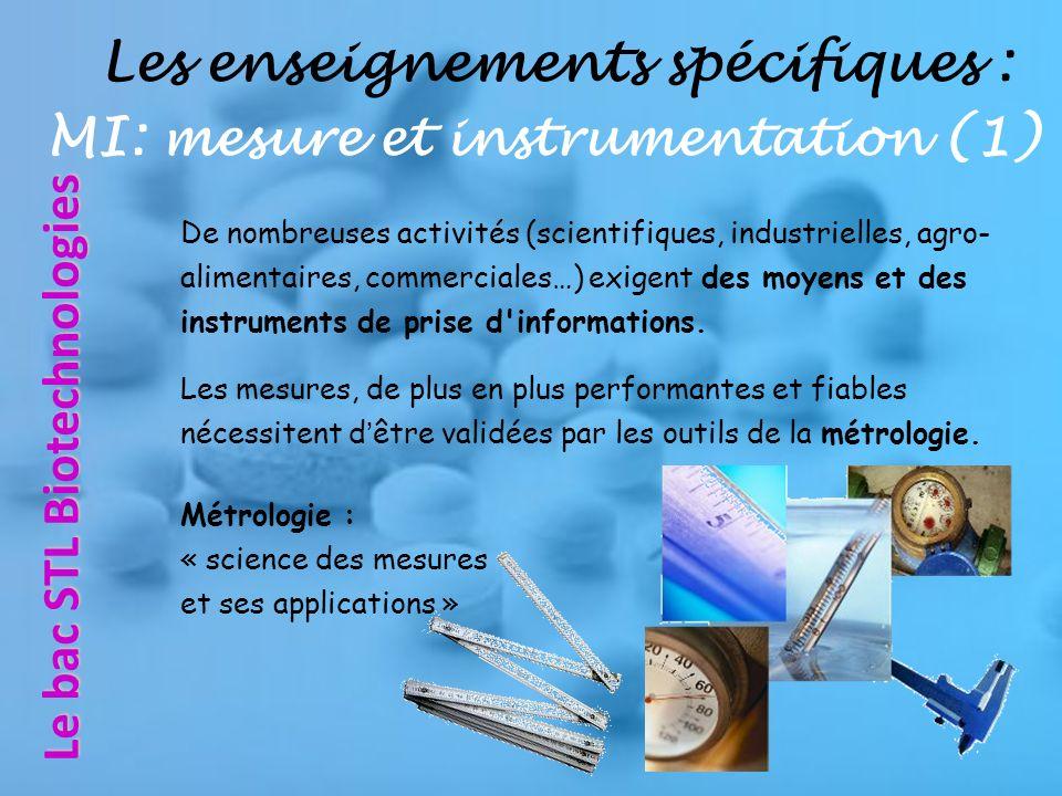 Les enseignements spécifiques : MI: mesure et instrumentation (1)
