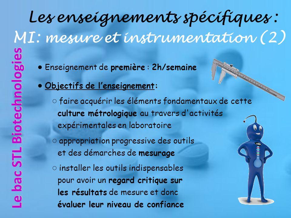 Les enseignements spécifiques : MI: mesure et instrumentation (2)