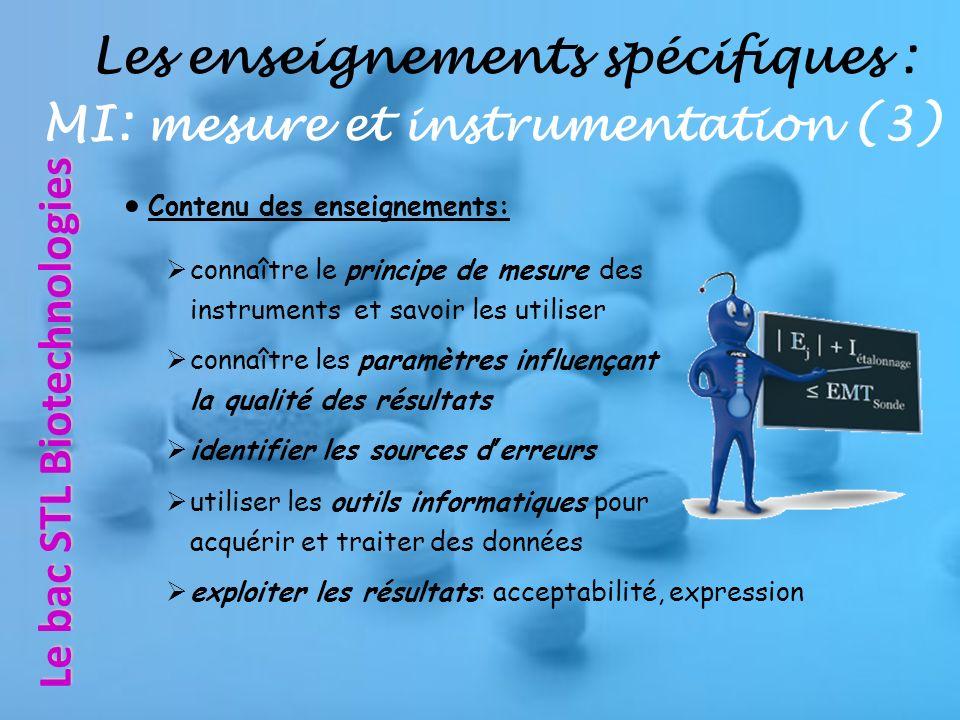 Les enseignements spécifiques : MI: mesure et instrumentation (3)