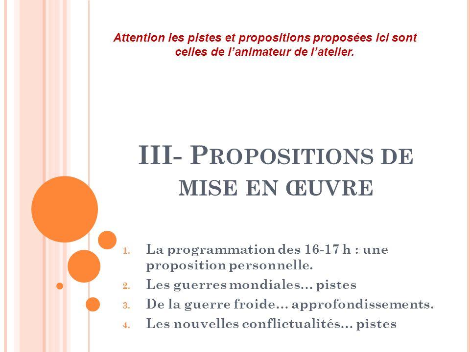 III- Propositions de mise en œuvre