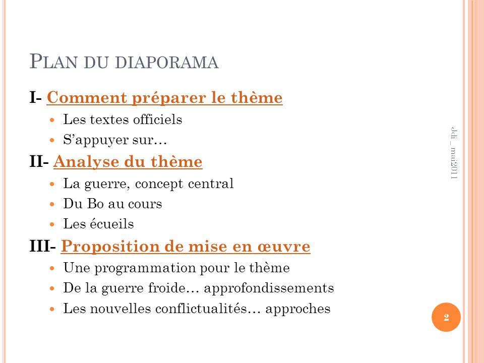 Plan du diaporama I- Comment préparer le thème II- Analyse du thème