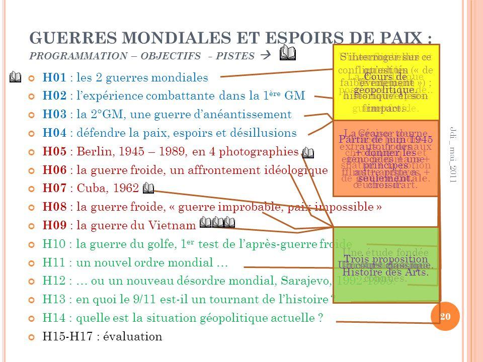 GUERRES MONDIALES ET ESPOIRS DE PAIX : programmation – objectifs - pistes 