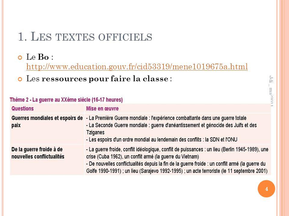 1. Les textes officiels Le Bo : http://www.education.gouv.fr/cid53319/mene1019675a.html. Les ressources pour faire la classe :