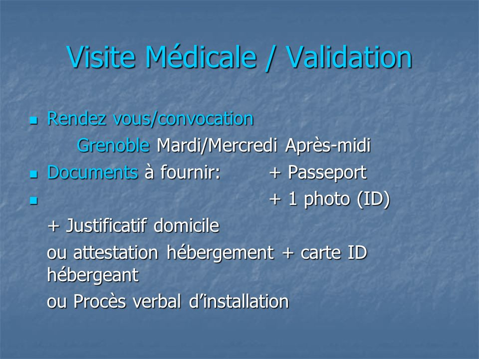 Visite Médicale / Validation