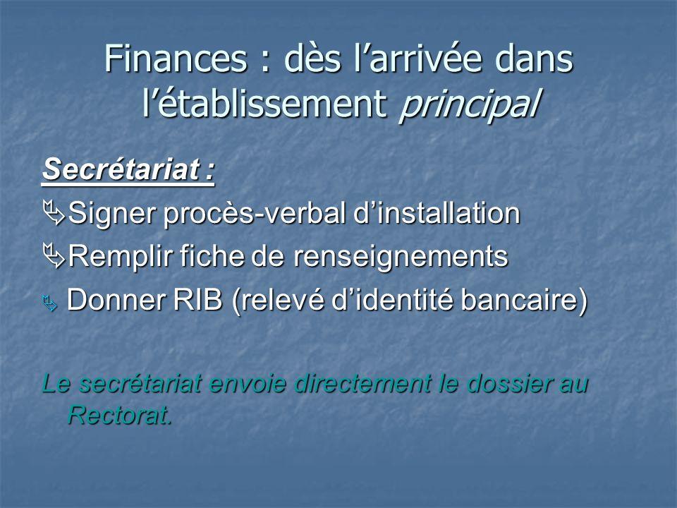 Finances : dès l'arrivée dans l'établissement principal