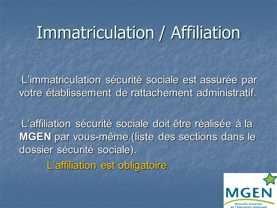 Immatriculation / Affiliation