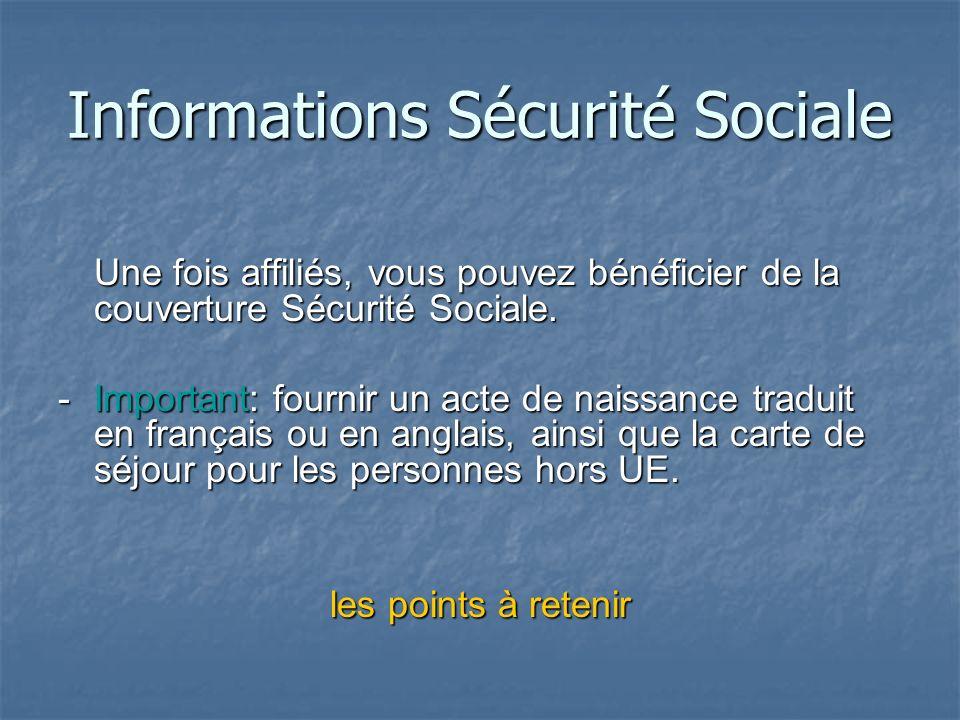 Informations Sécurité Sociale