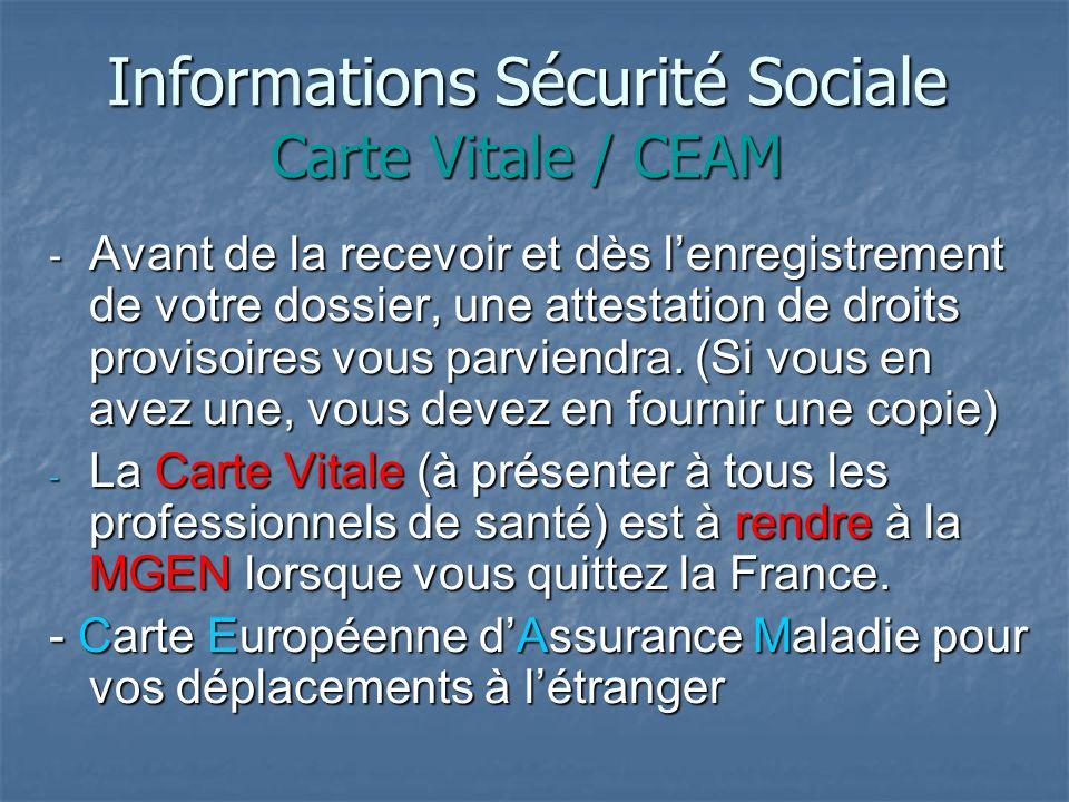 Informations Sécurité Sociale Carte Vitale / CEAM