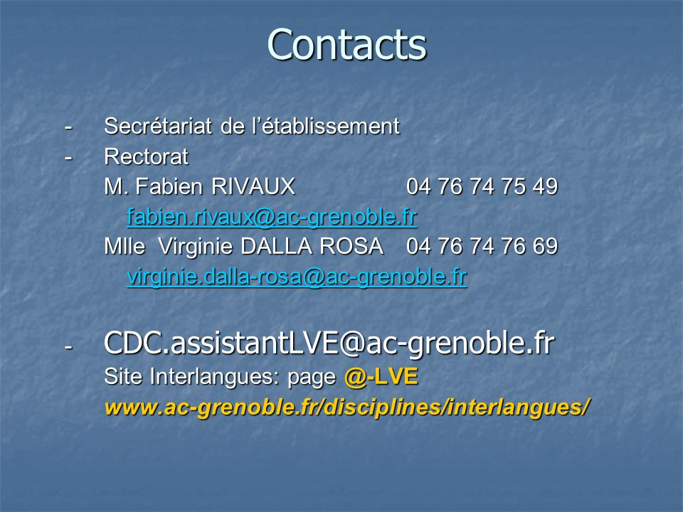 Contacts - Secrétariat de l'établissement - Rectorat