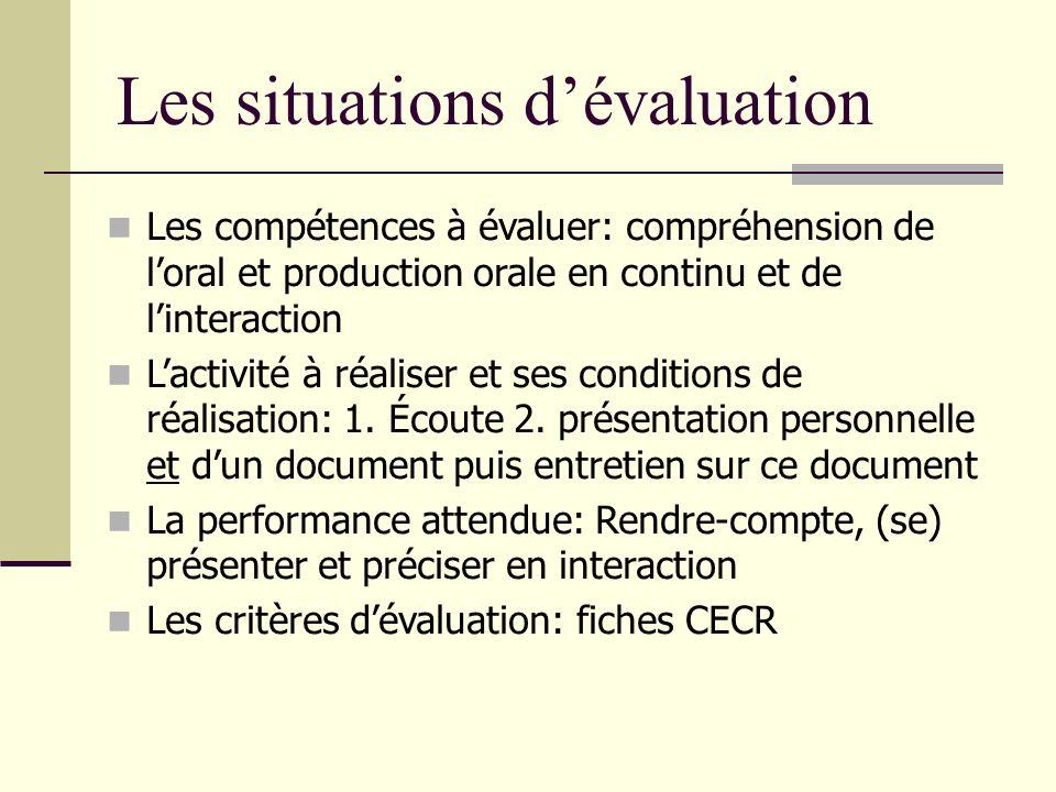 Les situations d'évaluation