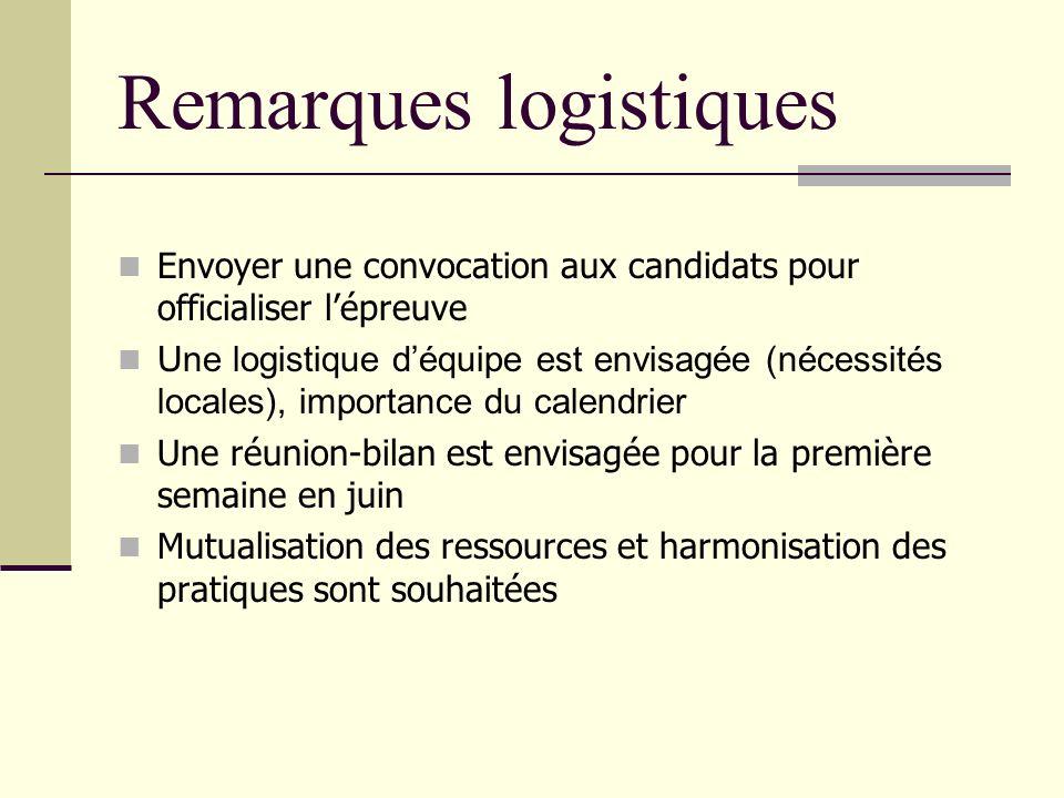 Remarques logistiques
